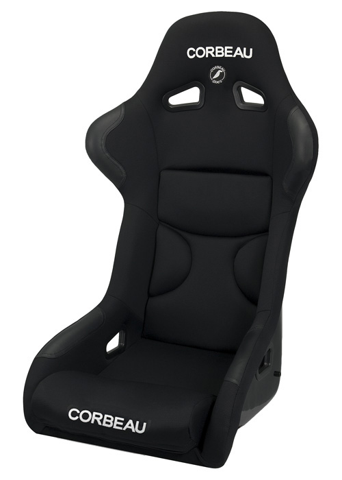 Corbeau 29501W - Corbeau FX1 Fixed Back Racing Seat in Black Cloth - Wide