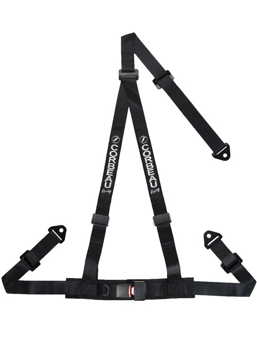Corbeau 43001S - Corbeau 2 Inch Harness Belt 3-point Single Release Snap-in - Black