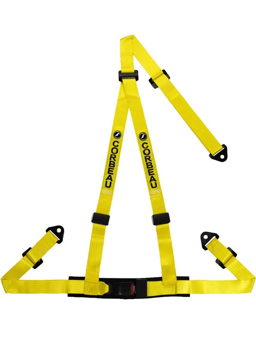 Corbeau 43003B - Corbeau 2 Inch Harness Belt 3-point Single Release Bolt-in - Yellow