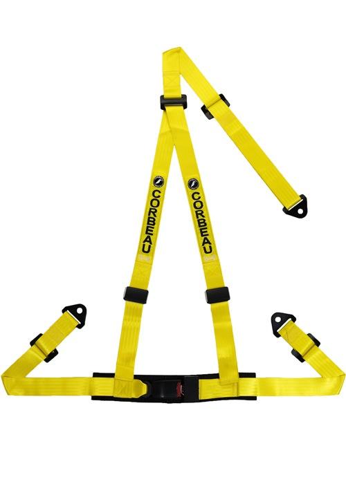 Corbeau 43003S - Corbeau 2 Inch Harness Belt 3-point Single Release Snap-in - Yellow