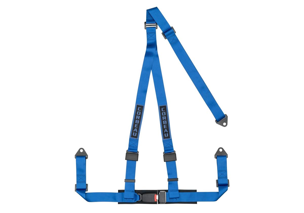 Corbeau 43005B - Corbeau 2 Inch Harness Belt 3-point Single Release Bolt-in - Blue
