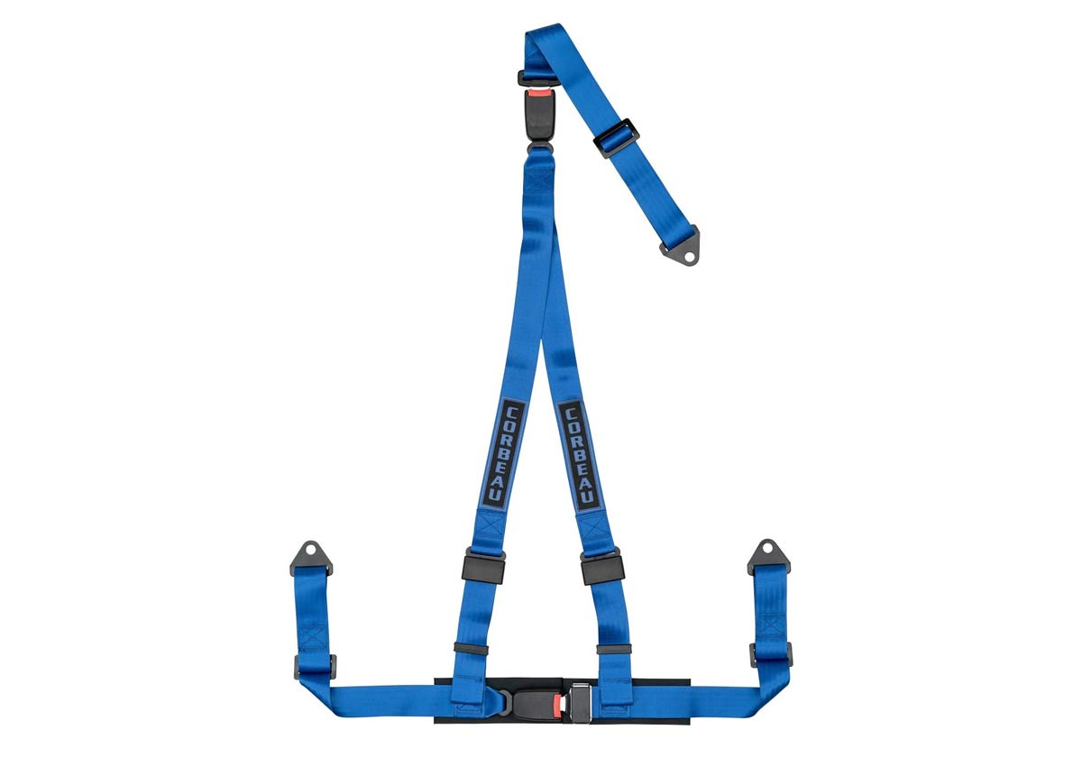 Corbeau 43205B - Corbeau 2 Inch Harness Belt 3-point Double Release Bolt-in - Blue