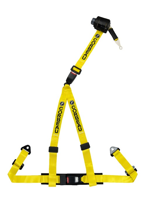 Corbeau 43303B - Corbeau 2 Inch Retractable Harness Belt 3-point Double Release bolt-in - Yellow