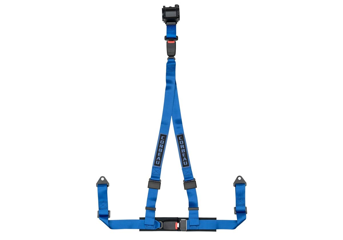 Corbeau 43305B - Corbeau 2 Inch Retractable Harness Belt 3-point Double Release bolt-in - Blue