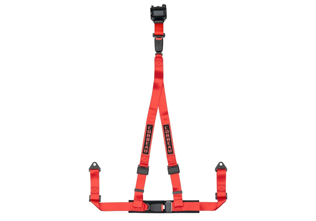 Corbeau 43307B - Corbeau 2 Inch Retractable Harness Belt 3-point Double Release bolt-in - Red