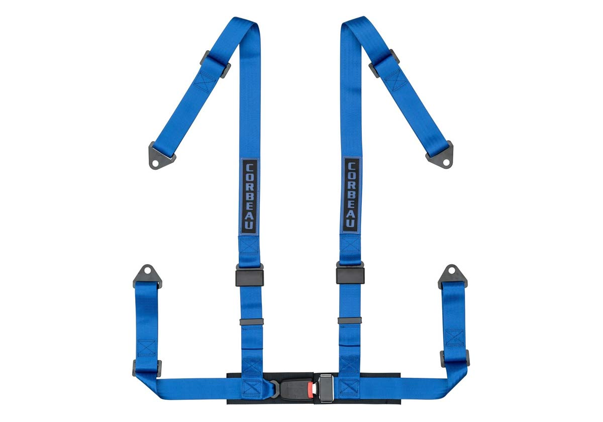 Corbeau 44005B - Corbeau 2 Inch Harness Belt 4-point Single Release Bolt-in - Blue