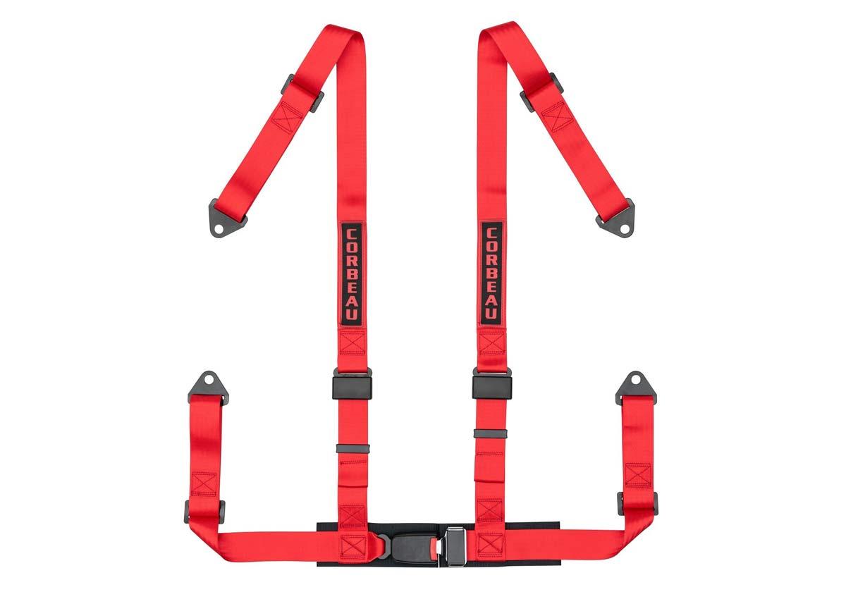 Corbeau 44007B - Corbeau 2 Inch Harness Belt 4-point Single Release Bolt-in - Red