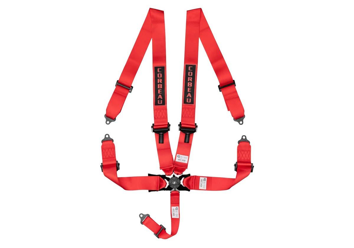 Corbeau 53007B - Corbeau 3 Inch 5-Point Harness Belt with Camlock - Red