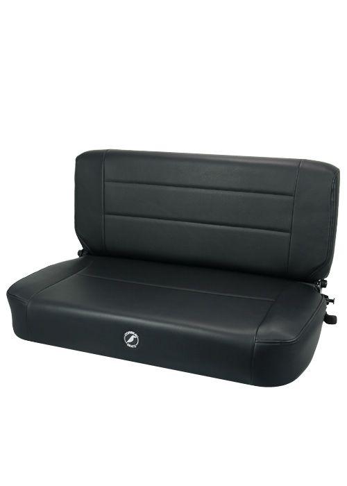 Corbeau 60010 - Corbeau Safari Fold and Tumble Bench Seat in Black Vinyl
