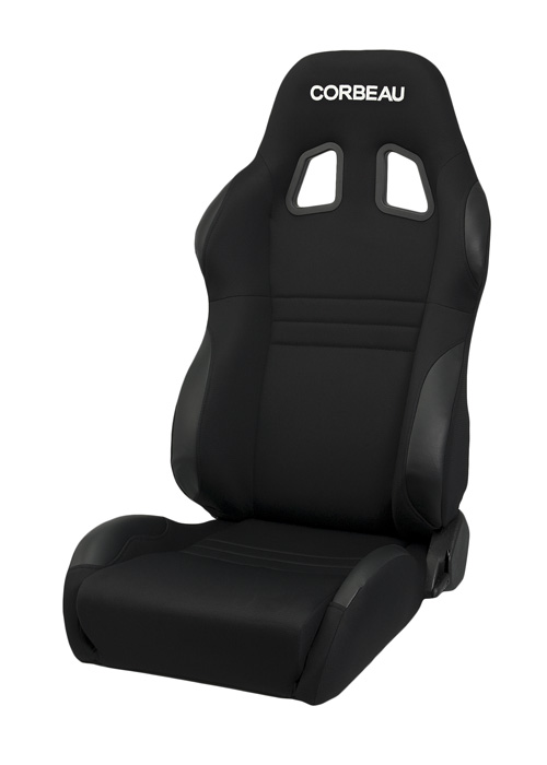 Corbeau 60091W - Corbeau A4 Reclining Seat in Black Cloth - Wide (Sold in Pairs, Price is for 2 Seats)