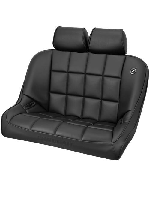 Corbeau 63401-HR01 - Corbeau Baja Bench 36 inch Seat in Black Vinyl with Headrests