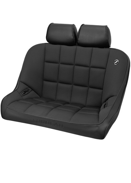 Corbeau 63402B-HR01 - Corbeau Baja Bench 36 inch Seat in Black Vinyl / Cloth with Headrests