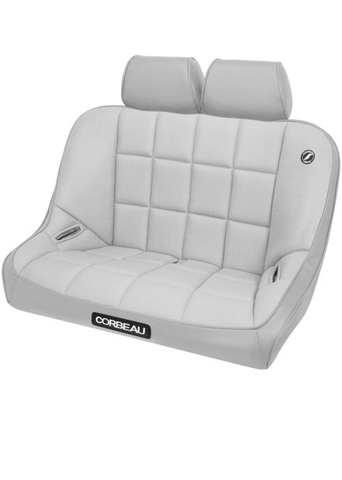 Corbeau 63408-HR09 - Corbeau Baja Bench 36 inch Seat in Grey Vinyl / Cloth with Headrests