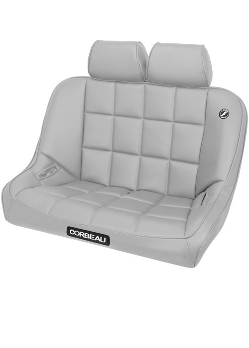 Corbeau 63409-HR09 - Corbeau Baja Bench 36 inch Seat in Grey Vinyl with Headrests