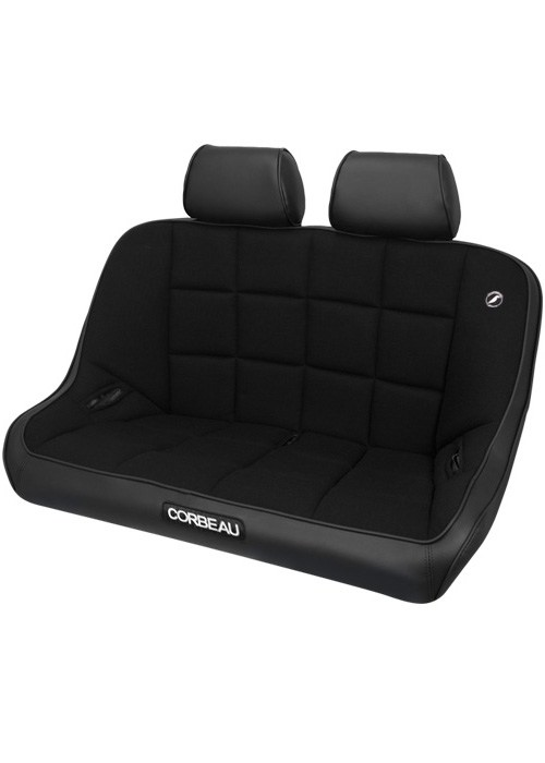 Corbeau 64402B-HR01 - Corbeau Baja Bench 42 inch Seat in Black Vinyl / Cloth with Headrests