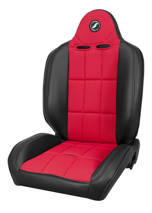 Corbeau 66407 - Corbeau Baja RS Reclining Suspension Seat in Black Vinyl/ Red Cloth (Sold in Pairs, Price is for 2 Seats)