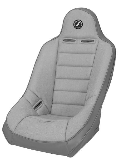 Corbeau 69408W - Corbeau Baja Ultra Suspension Seat in Grey Vinyl / Cloth - Wide