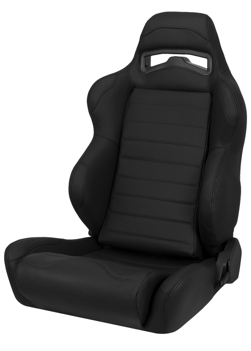 Corbeau L25501 - Corbeau LG1 Reclining Seat in Black Leather (Sold in Pairs, Price is for 2 Seats)