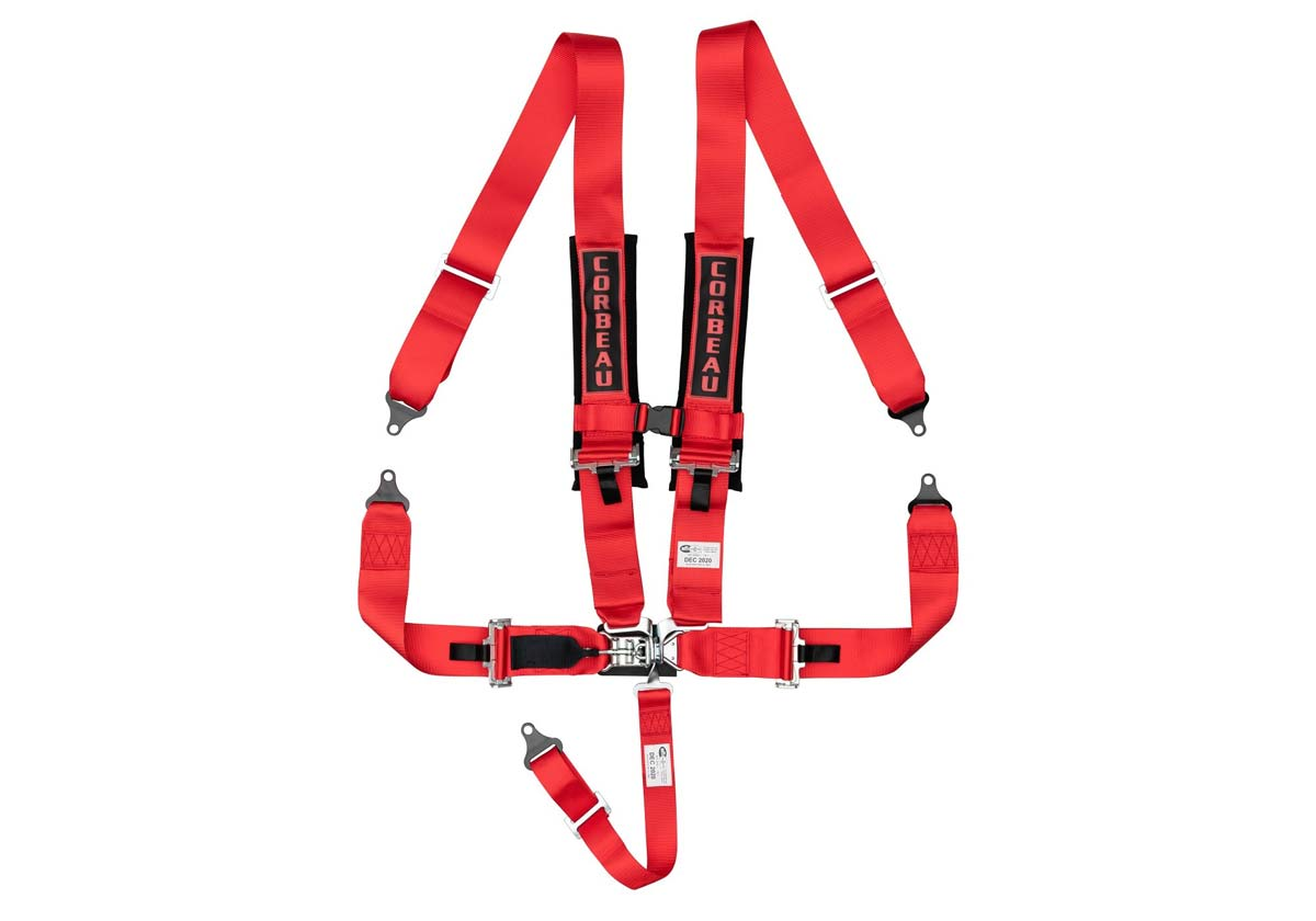 Corbeau LL53007B - Corbeau 3 Inch 5-Point Harness Belt with Latch and Link - Red