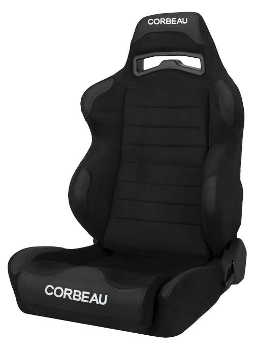 Corbeau S25501W - Corbeau LG1 Reclining Seat in Black Microsuede - Wide