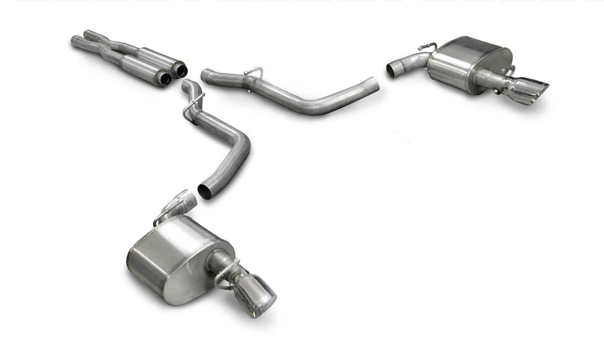 Corsa Performance 14442 - Corsa Charger 3.5L V6 2005-10 Split Dual Rear Exit w/Single 3.5 Pro-Series Tip - Sport