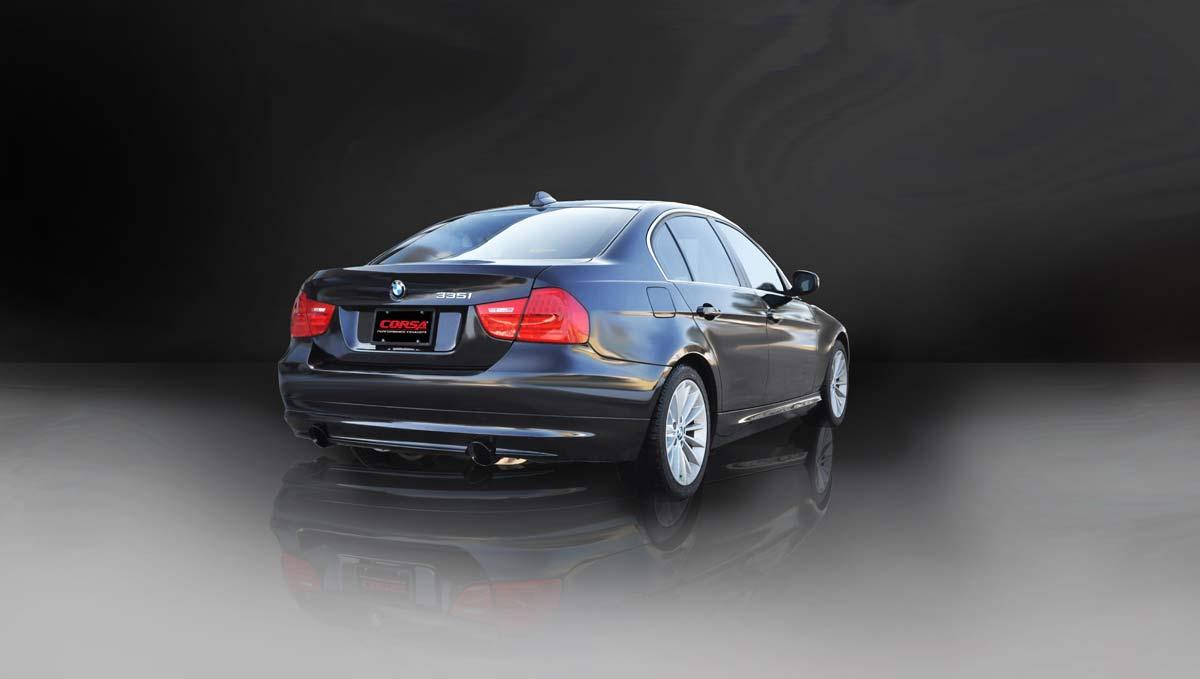 Corsa Performance 14861BLK | CORSA BMW 335i Cat-Back Exhaust E90 Sedan  Sport - 3 5 Dual Rear Exit with Single 4 Inch Black Pro-Series Tips