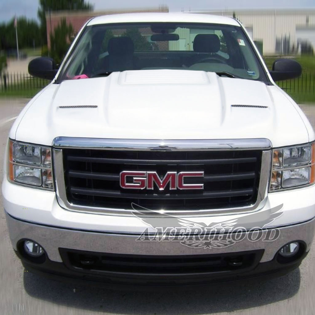 amerihood gs07ahcwl2fhw25 gmc sierra 2500hd cowl type 2 style functional ram air hood 2007 2010 lm performance