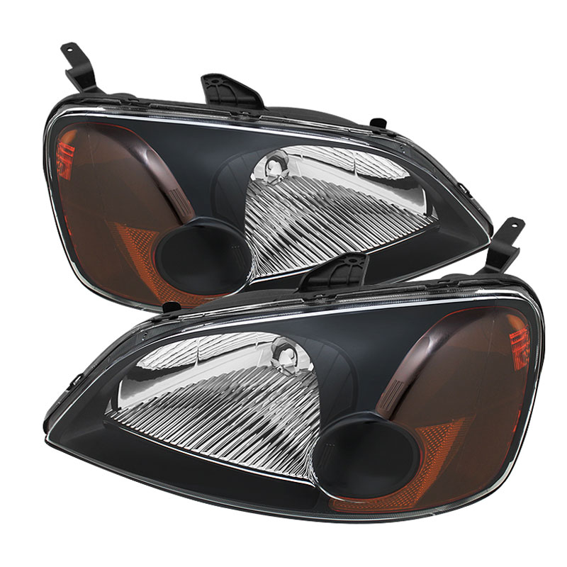 xTune HD-JH-HC01-AM-BK - xTune Honda Civic 01-03 2/4Dr Amber Crystal Headlights - Black