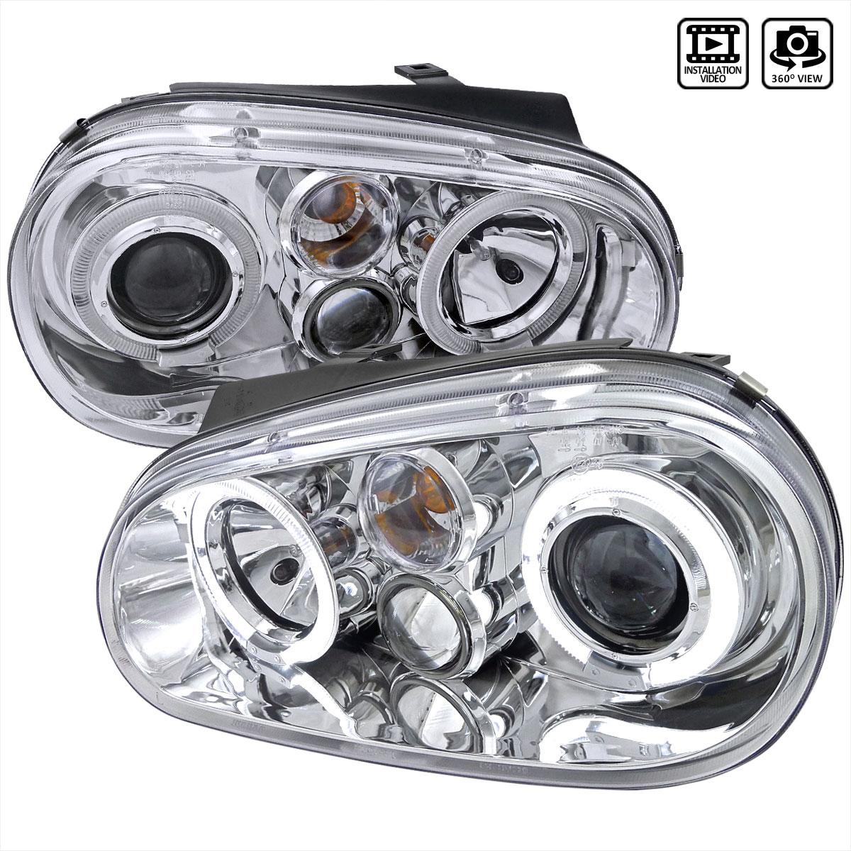 Spec-D Tuning LHP-GLF99-TM - Spec-D 99-03 Vw Golf Projector Headlights Chrome