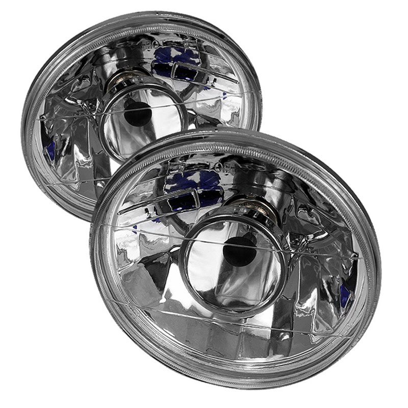 xTune PRO-CL-7ROU-H4-C - xTune Inch Round 7 Projector Lamp W/ Super White H4 Bulbs - Chrome
