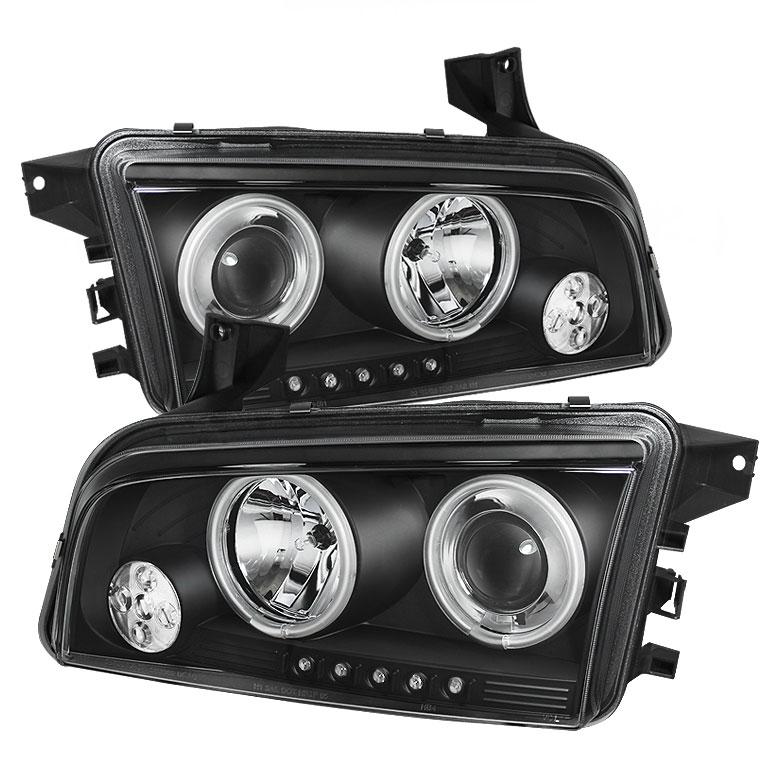 Spyder PRO-YD-DCH05-CCFL-BK - Spyder Dodge Charger 06-10 ( Non HID ) CCFL LED ( Replaceable LEDs ) Projector Headlights - Black