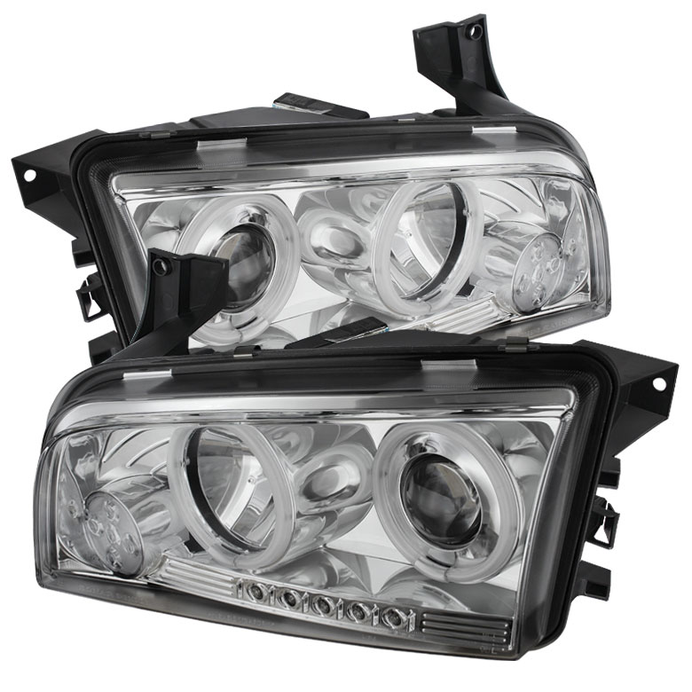 Spyder PRO-YD-DCH05-CCFL-C - Spyder Dodge Charger 06-10 ( Non HID ) CCFL LED ( Replaceable LEDs ) Projector Headlights - Chrome