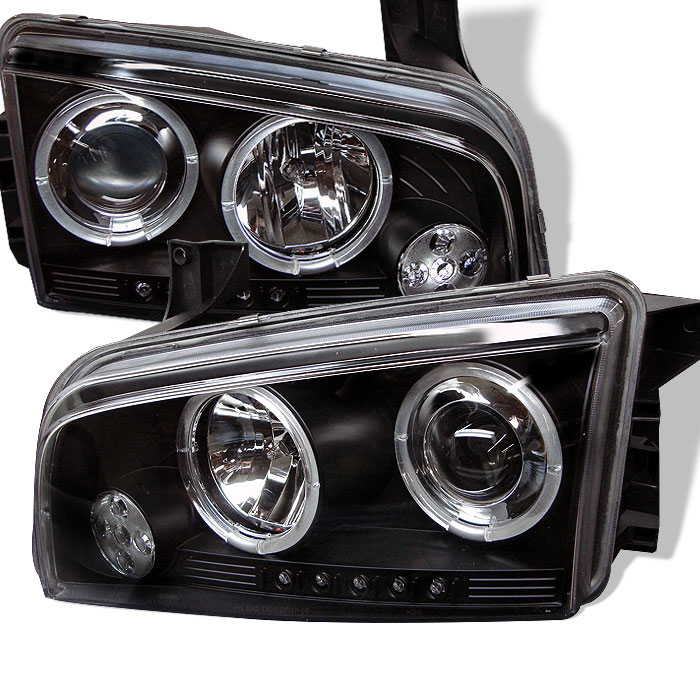 Spyder PRO-YD-DCH05-LED-BK - Spyder Dodge Charger 06-10 ( Non HID ) Halo LED ( Replaceable LEDs ) Projector Headlights - Black
