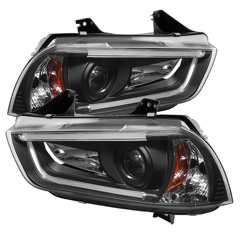 Spyder 5074201 | Dodge Charger Projector Headlights - Xenon/HID Model Only  (Not Compatible With Halogen Model ) - Light Tube DRL - Black - High H1