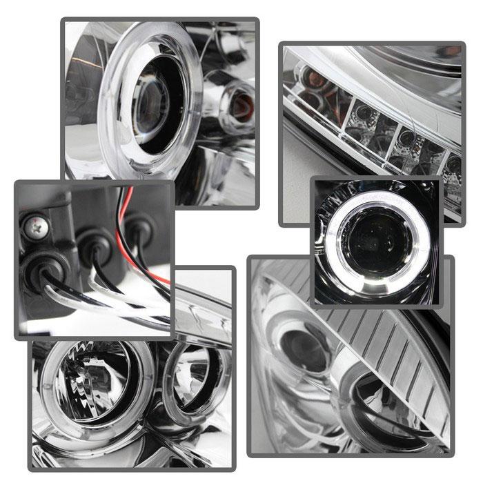 Spyder 5010018 | Dodge Ram 1500 Halo LED ( Replaceable LEDs ) Projector  Headlights - Chrome - (PRO-YD-DR06-HL-C)