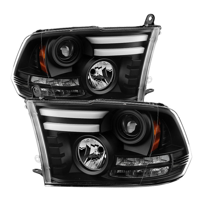 Spyder 5081001 | Dodge Ram 1500 / Ram 1500 2500/3500 Projector Headlights -  Halogen Model Only - Light Bar DRL - Black - (PRO-YD-DR09-LBDRL-BK)