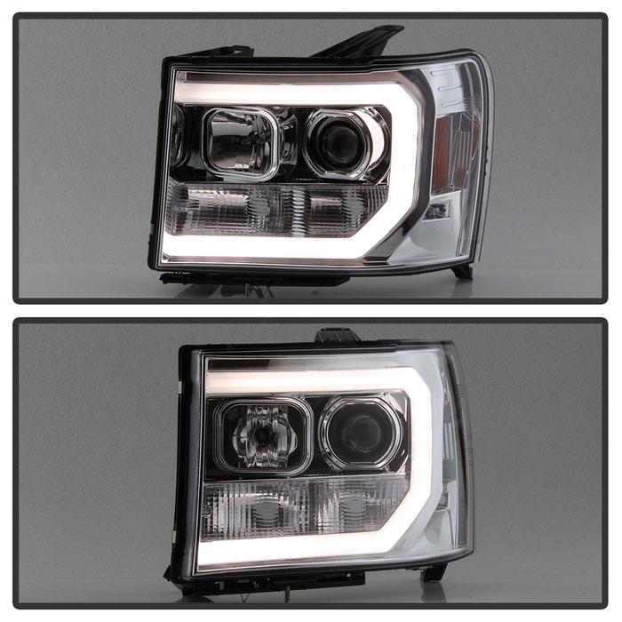 Spyder 5083647   GMC Sierra 1500/2500/3500 / Denali Version 2 Projector  Headlights - Light Bar DRL LED - Chrome - (PRO-YD-GS07V2-LBDRL-C)