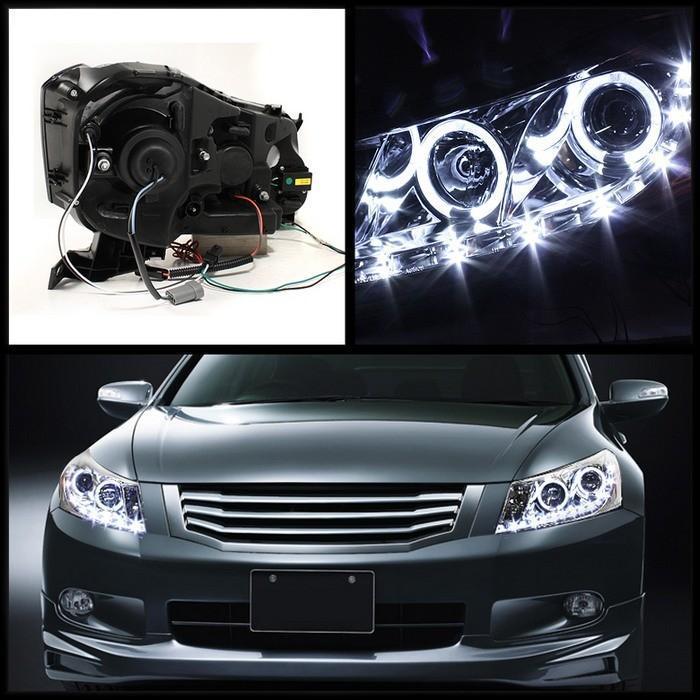 Spyder 5010674 Honda Accord 4dr Drl Led Halo Projector Headlights Chrome Pro