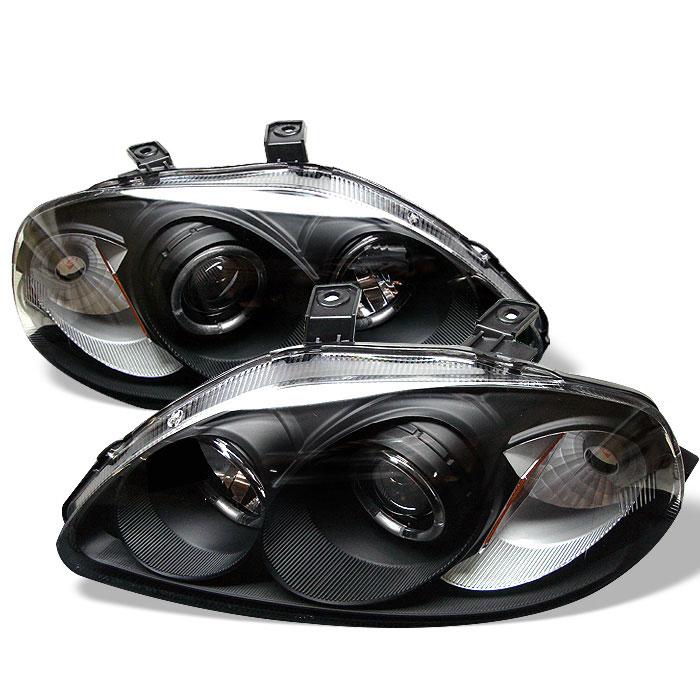 Spyder PRO-YD-HC96-AM-BK - Spyder Honda Civic 96-98 Halo Projector Headlights - Black