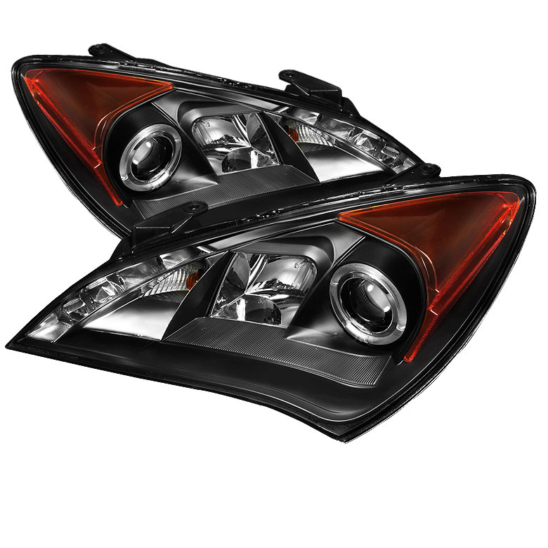 Spyder 5034250 Hyundai Genesis Coupe Non Hid Type Drl Halo Led Projector Headlights Black Pro Yd Hygen09 Drl Bk 2010 2012