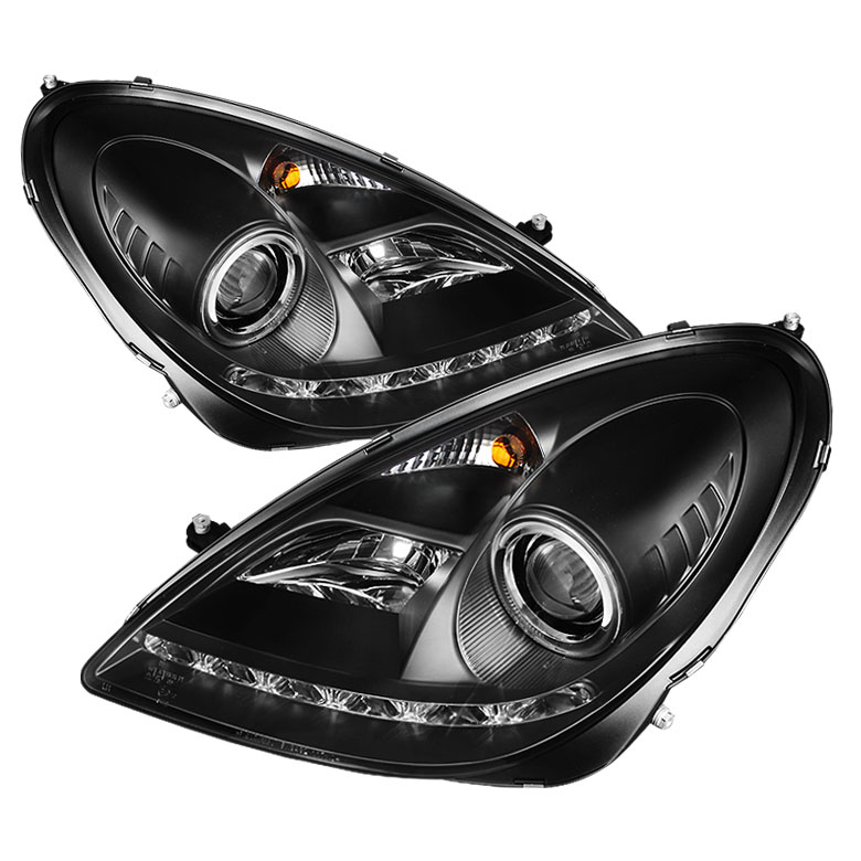 Spyder 5015006 | Mercedes Benz R171 SLK ( HID Type ) DRL LED Projector  Headlights - Black - (PRO-YD-MBSLK05-HID-DRL-BK)