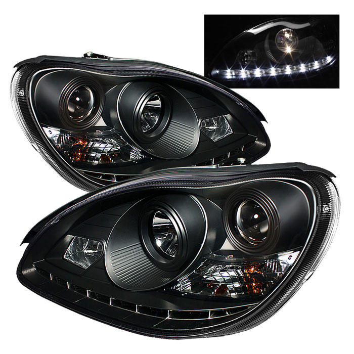 Spyder 5011312 Mercedes Benz W220 S Class Drl Led Projector Headlights Black Pro Yd Mbw220 Drl Bk 2000 2006