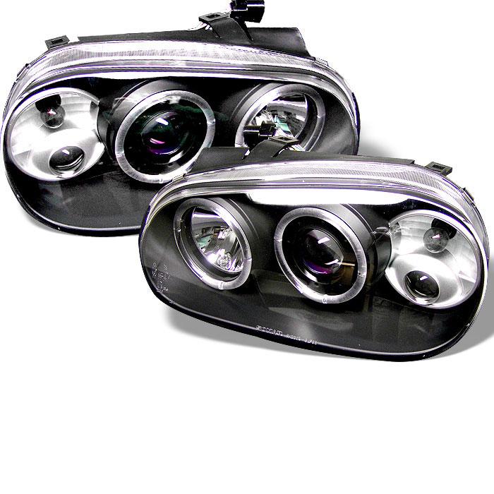 Spyder 5012159 | Volkswagen Golf IV Halo Projector Headlights - Black -  (PRO-YD-VG99-BK)