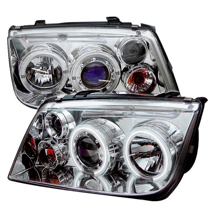 Spyder PRO-YD-VJ99-CCFL-C - Spyder Volkswagen Jetta 99-05 CCFL LED Projector Headlights - Chrome 444-VJ99-CCFL-C
