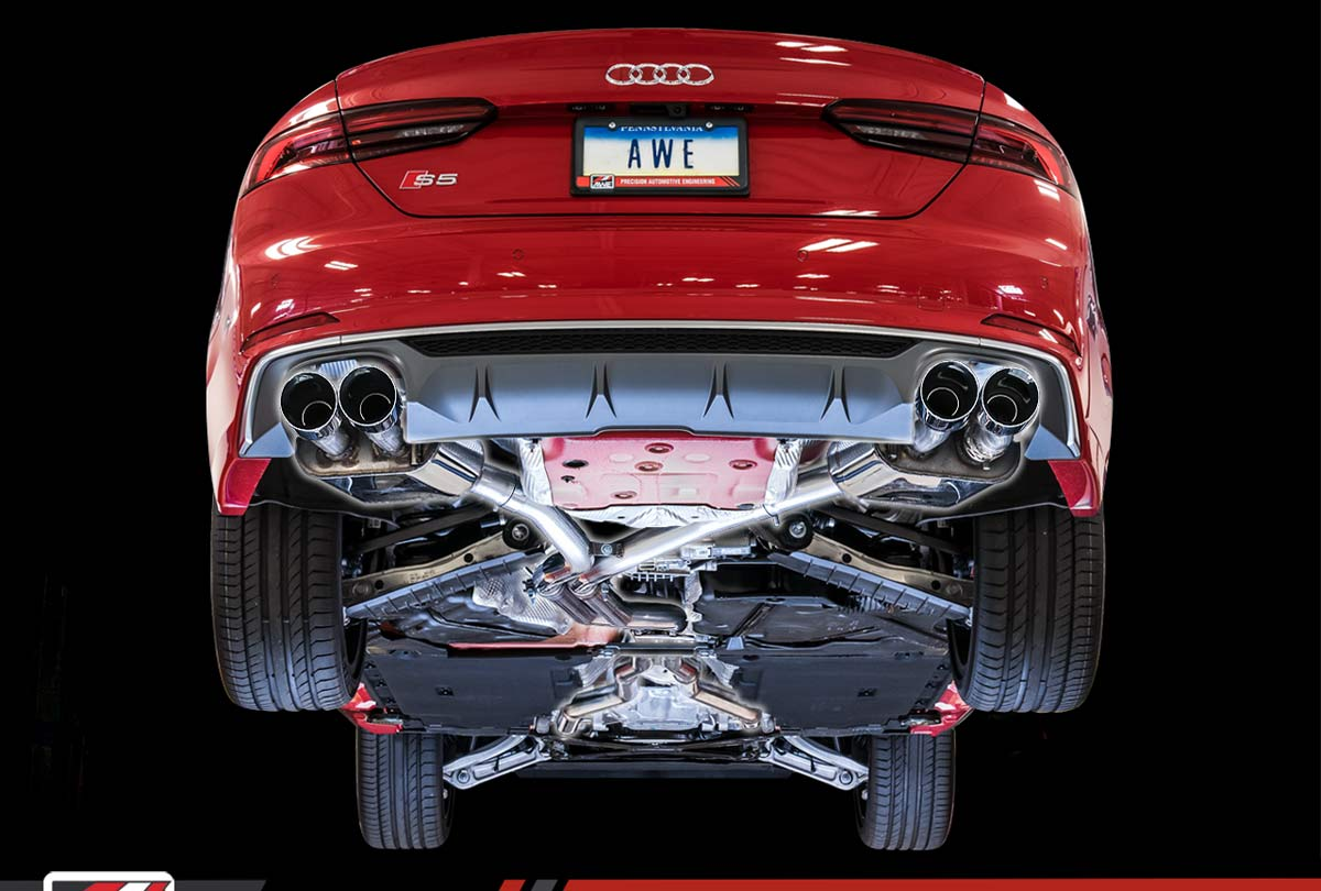 AWE Tuning 3015-43090 | Audi B9 S5 Coupe Touring Edition Exhaust (Diamond  Black 90mm Tips)