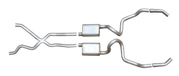 "Pypes SGI10S - Pypes IMPALA 94-96 SS 2.5"" Cat-back System w/ X-pipe Street Pro Mufflers"