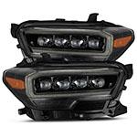AlphaRex Toyota Tacoma NOVA LED Projector Headlight Plank Style Alpha Black w/Activation Light; 2016-2020