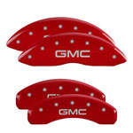 MGP 4 Caliper Covers Engraved Front & Rear GMC Red Finish Silver Char GMC Sierra 1500; 2019-2020