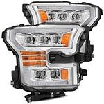 AlphaRex Ford Raptor NOVA LED Proj Headlights Plank Style Chrm w/Activ Light Sequential Signal; 2017-2020