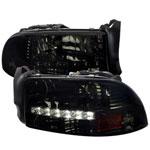 Spec-D Tuning Dodge Durango Smoked Headlight With Led; 1998-2003